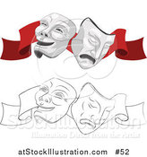 Vector Illustration of Two Face Masks, One Happy and One Sad, on a Red Ribbon for a Theater by AtStockIllustration
