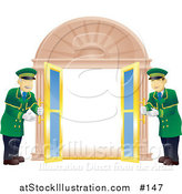 Vector Illustration of Two Friendly Door Men in Green Uniforms, Opening Double Doors by AtStockIllustration