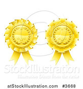 Vector Illustration of Two Golden Laurel Wreath and Star Rosette Award Ribbons by AtStockIllustration