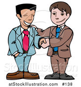 Vector Illustration of Two Happy Businessmen Shaking Hands by AtStockIllustration