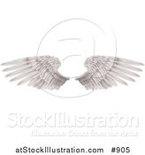 Vector Illustration of Two Large White Feathered Wings Spread Open, Isolated on White by AtStockIllustration