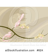 Vector Illustration of Two Pink Birds Perched on a Branch with Blossoms by AtStockIllustration