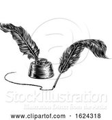 Vector Illustration of Two Quill Feather Pens and Inkwell by AtStockIllustration