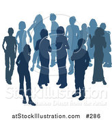 Vector Illustration of Two Women Chatting Among a Crowd of Silhouetted Blue People by AtStockIllustration