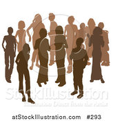 Vector Illustration of Two Women Chatting Among a Crowd of Silhouetted Brown People by AtStockIllustration