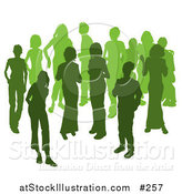 Vector Illustration of Two Women Chatting Among a Crowd of Silhouetted Green People by AtStockIllustration