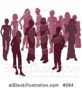 Vector Illustration of Two Women Chatting Among a Crowd of Silhouetted Purple People by AtStockIllustration
