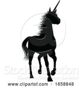 Vector Illustration of Unicorn Silhouette Horned Horse by AtStockIllustration