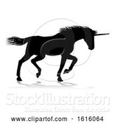 Vector Illustration of Unicorn Silhouette Horned Horse, on a White Background by AtStockIllustration
