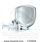 Vector Illustration of Vaccine Injection Syringe Immunisation Shield by AtStockIllustration