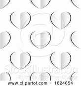 Vector Illustration of Valentines White Paper Heart Seamless Background by AtStockIllustration