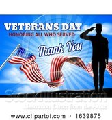Vector Illustration of Veterans Day American Flag Soldier Saluting by AtStockIllustration