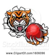 Vector Illustration of Vicious Tiger Mascot Breaking Through a Wall with a Cricket Ball by AtStockIllustration