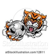 Vector Illustration of Vicious Tiger Mascot Breaking Through a Wall with a Soccer Ball by AtStockIllustration