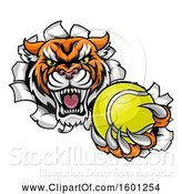 Vector Illustration of Vicious Tiger Mascot Breaking Through a Wall with a Tennis Ball by AtStockIllustration