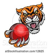Vector Illustration of Vicious Tiger Sports Mascot Grabbing a Cricket Ball by AtStockIllustration