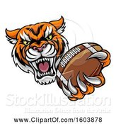Vector Illustration of Vicious Tiger Sports Mascot Grabbing a Football by AtStockIllustration