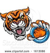 Vector Illustration of Vicious Tiger Sports Mascot Grabbing a Ringette Ring by AtStockIllustration