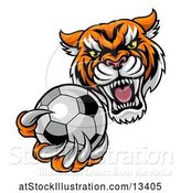 Vector Illustration of Vicious Tiger Sports Mascot Grabbing a Soccer Ball by AtStockIllustration