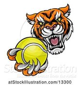 Vector Illustration of Vicious Tiger Sports Mascot Grabbing a Tennis Ball by AtStockIllustration