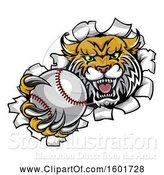 Vector Illustration of Vicious Wildcat Mascot Breaking Through a Wall with a Baseball by AtStockIllustration
