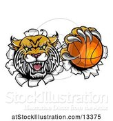 Vector Illustration of Vicious Wildcat Mascot Breaking Through a Wall with a Basketball by AtStockIllustration