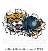 Vector Illustration of Vicious Wildcat Mascot Breaking Through a Wall with a Bowling Ball by AtStockIllustration
