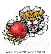 Vector Illustration of Vicious Wildcat Mascot Breaking Through a Wall with a Cricket Ball by AtStockIllustration