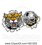 Vector Illustration of Vicious Wildcat Mascot Breaking Through a Wall with a Soccer Ball by AtStockIllustration