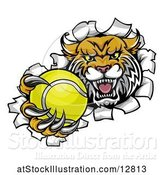 Vector Illustration of Vicious Wildcat Mascot Breaking Through a Wall with a Tennis Ball by AtStockIllustration