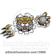 Vector Illustration of Vicious Wildcat Mascot Shredding Through a Wall with a Golf Ball by AtStockIllustration