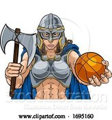 Vector Illustration of Viking Celtic Knight Basketball Warrior Lady by AtStockIllustration