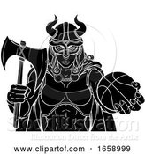 Vector Illustration of Viking Female Gladiator Basketball Warrior Lady by AtStockIllustration