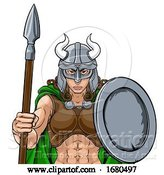 Vector Illustration of Viking Female Gladiator Warrior Lady Team Mascot by AtStockIllustration