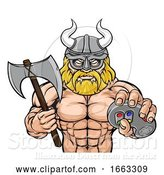 Vector Illustration of Viking Gamer Gladiator Warrior Controller Mascot by AtStockIllustration