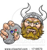 Vector Illustration of Viking Gamer Video Game Controller Mascot by AtStockIllustration