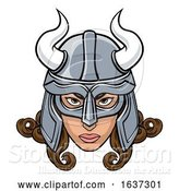 Vector Illustration of Viking Lady Warrior Mascot by AtStockIllustration