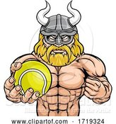 Vector Illustration of Viking Tennis Sports Mascot by AtStockIllustration