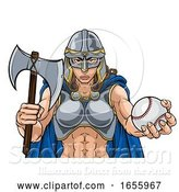 Vector Illustration of Viking Trojan Celtic Knight Baseball Warrior Lady by AtStockIllustration