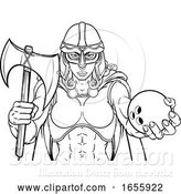 Vector Illustration of Viking Trojan Celtic Knight Bowling Warrior Lady by AtStockIllustration