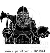 Vector Illustration of Viking Trojan Celtic Knight Cricket Warrior Lady by AtStockIllustration