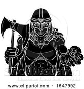 Vector Illustration of Viking Trojan Celtic Knight Gamer Warrior Lady by AtStockIllustration