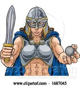 Vector Illustration of Viking Trojan Celtic Knight Golf Warrior Lady by AtStockIllustration