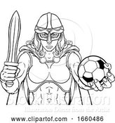 Vector Illustration of Viking Trojan Celtic Knight Soccer Warrior Lady by AtStockIllustration