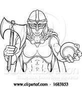 Vector Illustration of Viking Trojan Celtic Knight Tennis Warrior Lady by AtStockIllustration