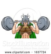 Vector Illustration of Viking Warrior Lady Weightlifter Lifting Barbell by AtStockIllustration