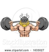 Vector Illustration of Viking Weight Lifting Body Building Mascot by AtStockIllustration