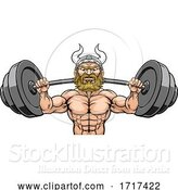 Vector Illustration of Viking Weight Lifting Mascot Muscle Gym by AtStockIllustration