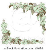 Vector Illustration of Vintage Green Grape Vine Corner Borders by AtStockIllustration