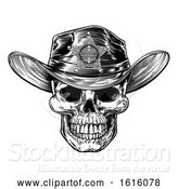 Vector Illustration of Vintage Style Skull Sheriff by AtStockIllustration